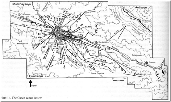 Fig 35 Ceque lines radiating out from Cuzco. According to Bauer