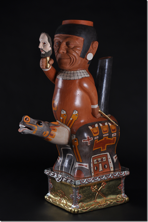 Kukuli Velarde, Patron Santiago (Corpus Series), red clay low fire, underglazes, casein, gold leaf and wax, 84 h x 49 d x 26.5 w cm, 2013