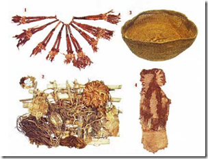 Fig 28 Found at Caral: 1. feather necklace 2. offering 3. basket 4. sandal
