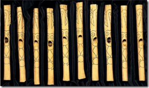 Fig 30 Caral Flutes with Incised Amazonian jungle monkey images