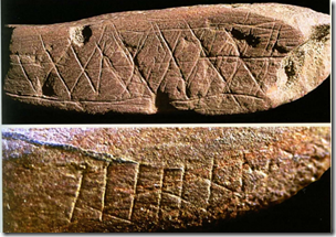 Fig 3 Incised ochre with possible tally marks according to Ambrose